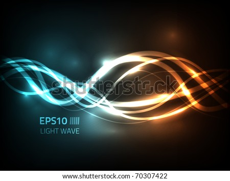 Vector soft energy lines flow against dark background - stock vector