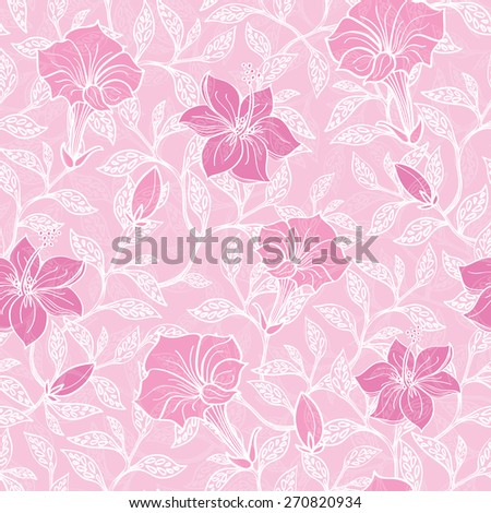 Vector soft pink lineart blossoms seamless pattern background - stock vector