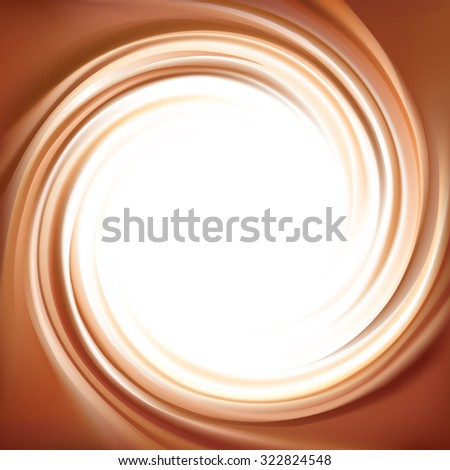 Vector soft wonderful mixed dark beige curvy eddy luxury fond. Beautiful delicious volute fluid choco cremy surface with space for text in glowing white center in middle of funnel    - stock vector