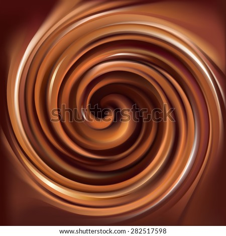 Vector soft wonderful mixed deep hazel curvy swirling backdrop with space for text in center of funnel. Beautiful delicious volute fluid creamy surface - stock vector