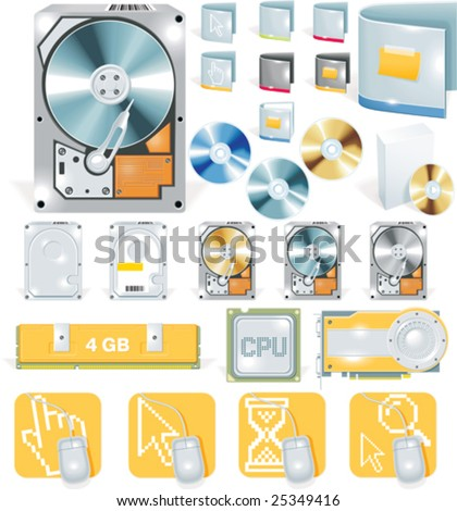Vector software and hardware detailed icon set