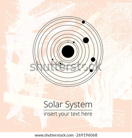 Vector solar system illustration on a grunge light background, EPS 8, postcard, poster, decorative, design element - stock vector