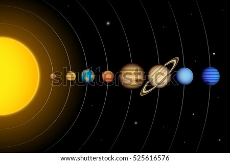 vector solar system planets diagram stock vector 525616576 rh shutterstock com solar system diagram kids solar system diagram worksheet