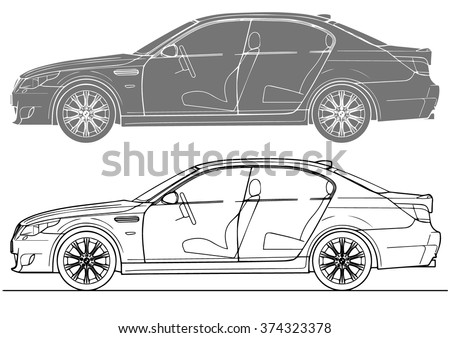 Vector solated the vehicle body frame - stock vector