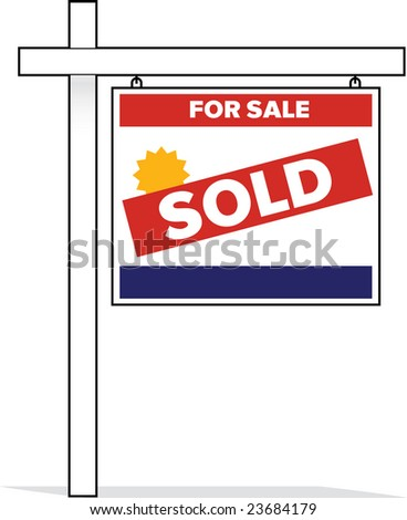 vector sold real estate housing sign - stock vector