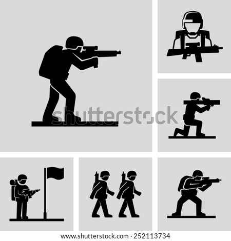 Vector soldiers training marching icons  - stock vector