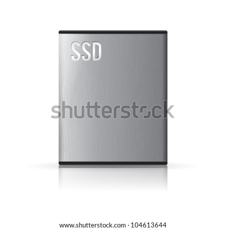 Vector solid state drive in various angle. Transparency shadows placed on separated layer. - stock vector