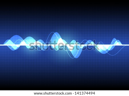 vector sound wave, abstract pulse background - stock vector