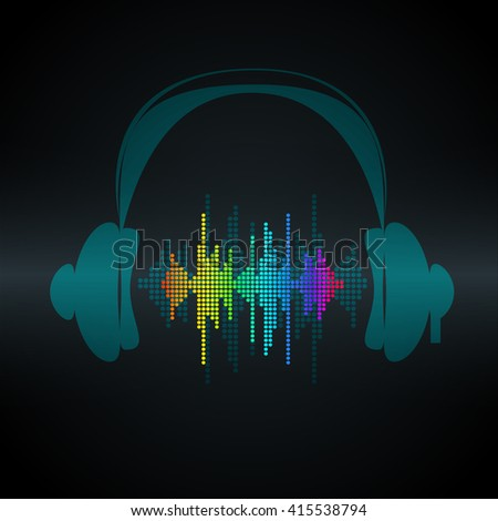 Vector sound wave with headphones. Equalizer Music polygons waveform background. You can use in club, radio, pub, party, concerts, recitals or the audio technology advertising. - stock vector