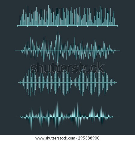 Vector Sound Waveforms. Audio equalizer technology, pulse musical. Vector illustration - stock vector