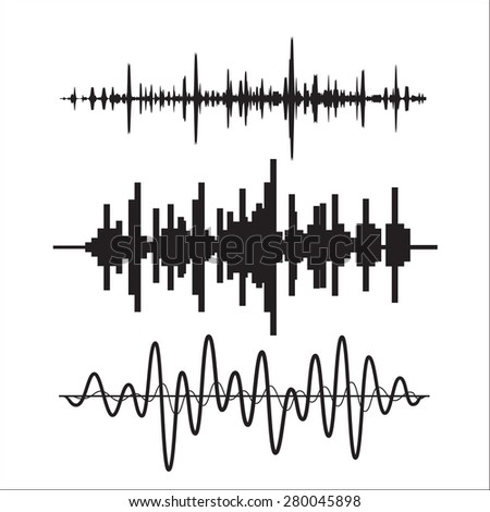 Vector sound waves set - stock vector