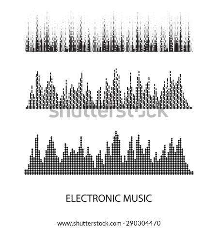 Vector sound waves set.  - stock vector