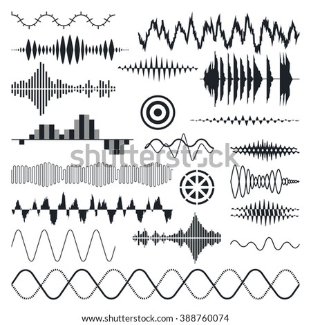 Vector Sound Waves Set. Audio Equalizer Technology, Pulse Musical. Vector Illustration - stock vector