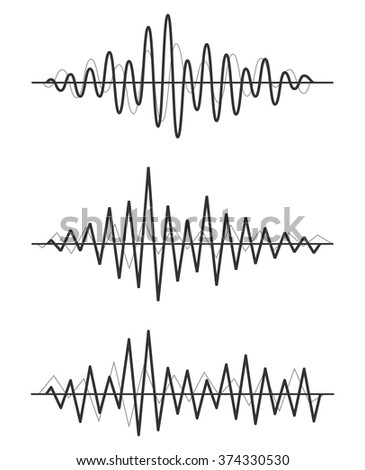 Vector sound waves set. Audio Player. Audio equalizer technology, pulse musical. Vector illustration. - stock vector