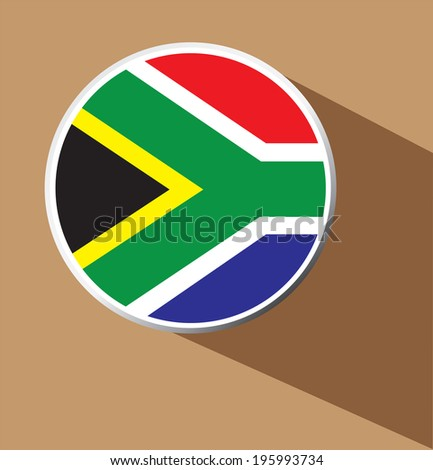 Vector -  South Africa Flag Button Icon with long shadow - stock vector
