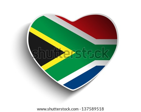Vector - South Africa Flag Heart Paper Sticker - stock vector