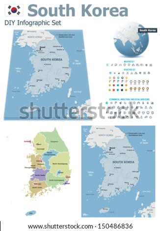 Vector South Korea Political Administrative Divisions Stock Vector