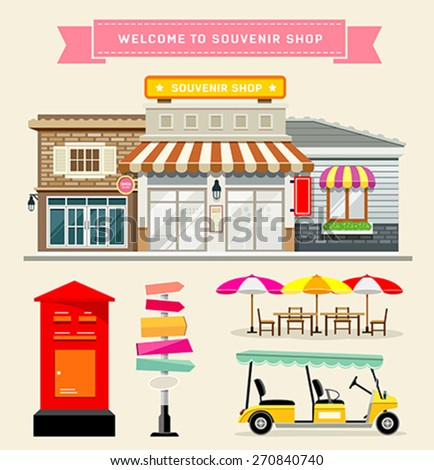 Vector Souvenir shop with guidepost, mail box, umbrella and golf cart collections concepts design background, illustration