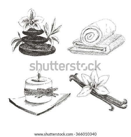 vector spa hand drawn collection. vanilla, orchid, towel, candle sketch. - stock vector