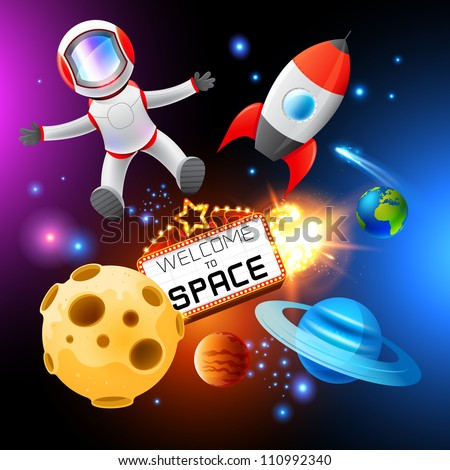 Vector Space Elements, layered. Including a spaceman and rocket! - stock vector