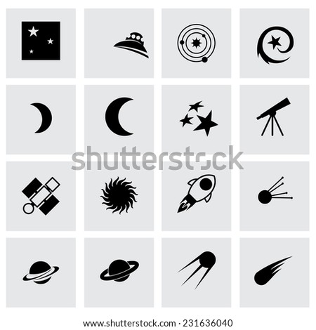 Vector space icon set on grey background