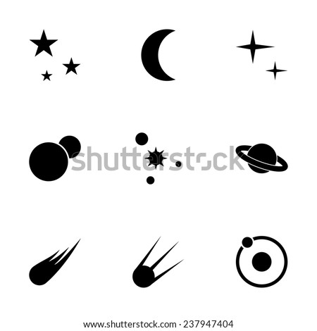 Vector space icon set on white background - stock vector