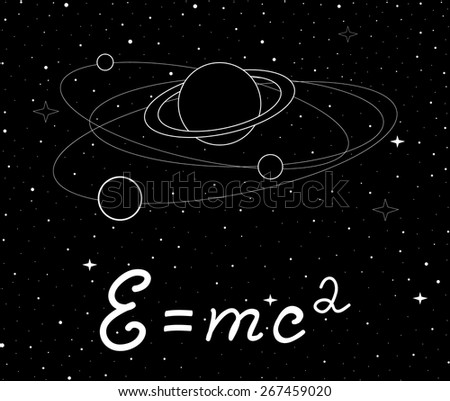 Vector space illustration with physical speed of light formula and planet with satellites  - stock vector