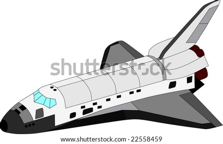 vector space shuttle isolated on white background - stock vector