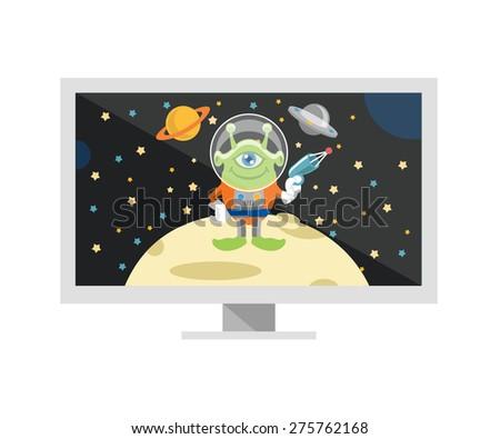 Vector space TV flat illustration - stock vector