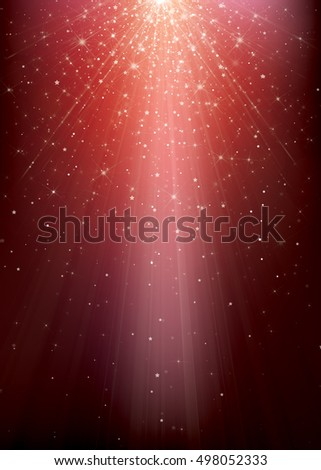 Vector sparkle red background with rays, stars and lights.