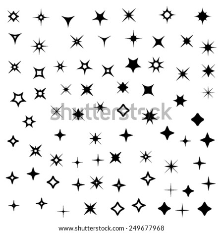 vector sparkles black symbols - stock vector