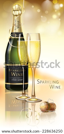 Vector Sparkling Wine with pair of wineglasses and cork - stock vector