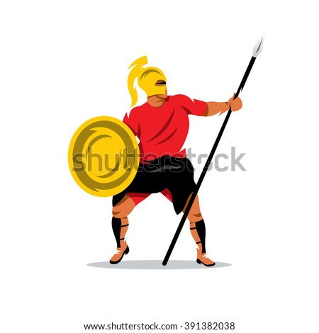 Vector Spartan Warrior Cartoon Illustration. Gladiator in a helmet holding shield and a spear. Branding Identity Corporate Logo isolated on a white background - stock vector