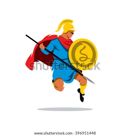 Vector Spartan Warrior Cartoon Illustration. Gladiator in a helmet jumping with shield and a spear. Branding Identity Corporate unusual Logo design template Isolated on a white background - stock vector