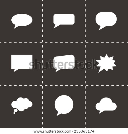 Vector speach bubbles icon set on black background - stock vector