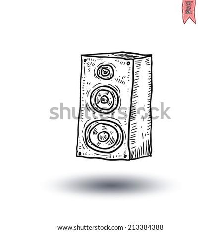 Vector speaker, hand drawn illustration. - stock vector