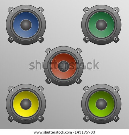 Vector speakers in different colors