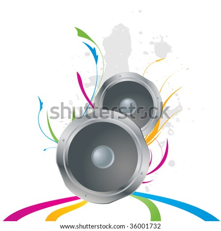 vector speakers with abstract background