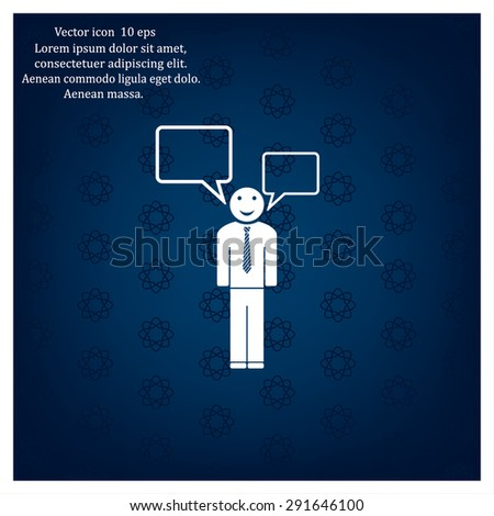 Vector speaking man icon isolated