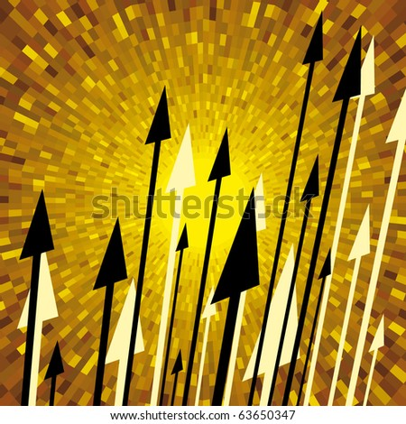 Vector spears with yellow shine background - stock vector