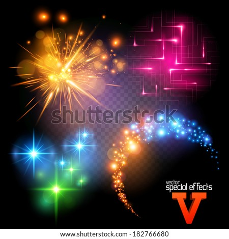 Vector Special Effects Series 5. Each object grouped and layered. - stock vector