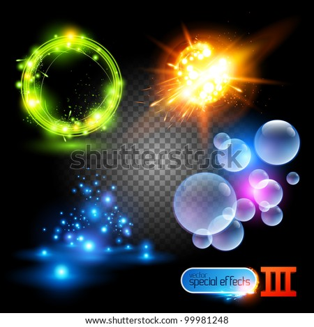 Vector Special Effects Series 3. Each set grouped and layered. - stock vector