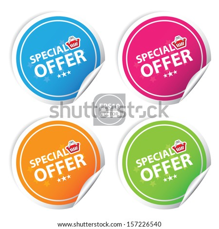 Vector:special offer colorful stickers set - stock vector