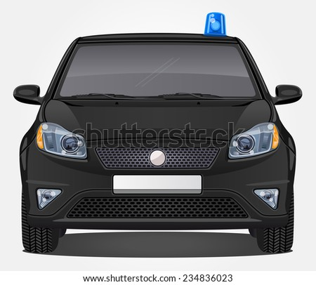 Vector special task force Car with opaque windows - Front view