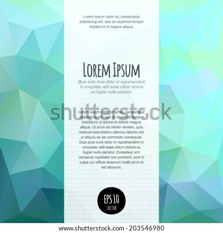 Vector spectrum polygonal abstract background for business blank, card, flyer, banner, invitation, brochure, leaflet, cover. Multicolored geometric pattern. Modern design template with text box. - stock vector