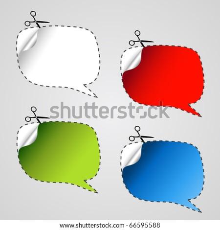 Vector speech bubble stickers - stock vector