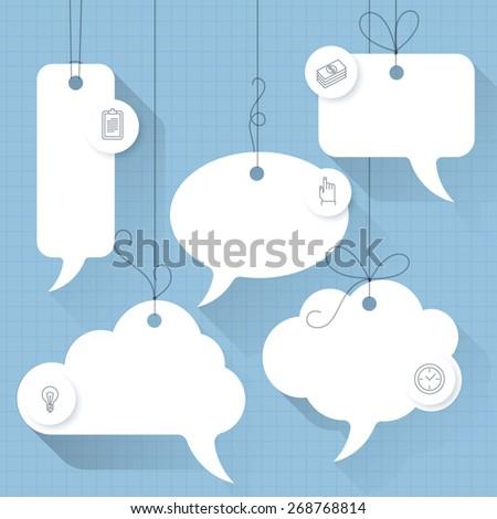 Vector speech bubble tags. Vector flat design with shadows  - stock vector