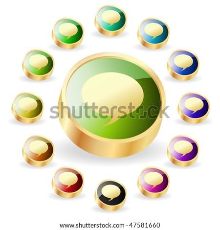 Vector speech bubble. Vector buttons. - stock vector