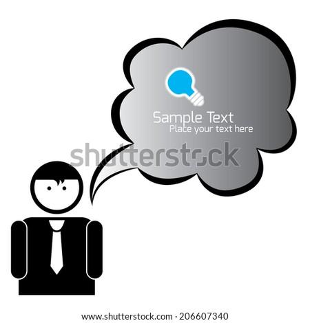 Vector speech bubbles & business man - stock vector