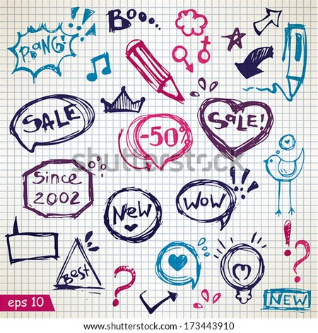 Vector speech bubbles, doodles with Lettering, Shooting Stars, and Swirls- hand-drawn illustration design elements on Paper Background for your design